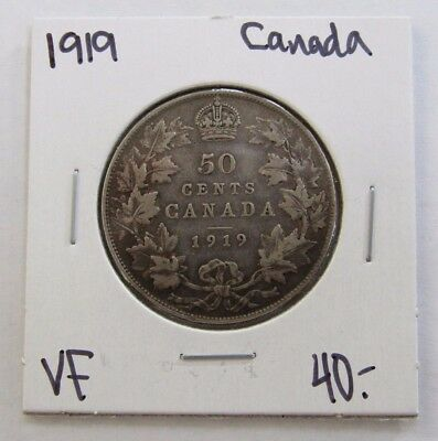 1919 Very Fine Canada Fifty Cent Silver Coin