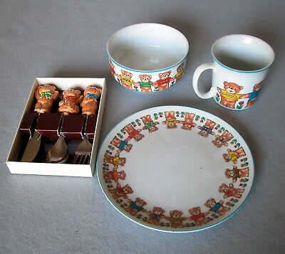 Enesco LUCY & ME Teddy Bears Childs Dish Set Plate Bowl Cup Knife Fork & Spoon