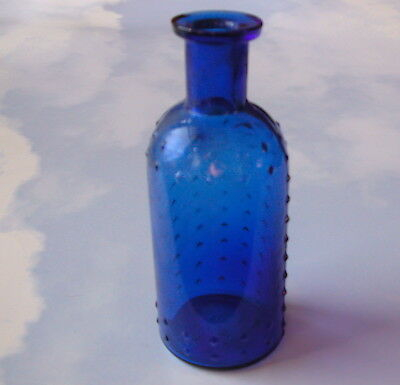 """Antique Whitall Tatum 4¾"""" Cobalt Blue Quilted Glass Apothecary Poison Bottle"""