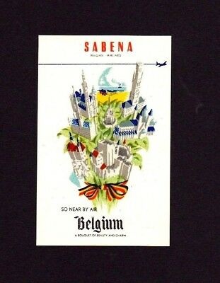 2 DESIRABLE Unused Labels for Belgium's SABENA Airlines  **WORLD FREE SHIPPING**