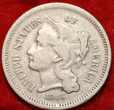 1866 Philadelphia Mint Nickel Three Cent Coin Free Shipping