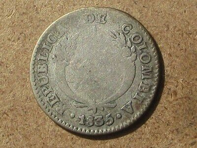 Colombia 1835-B Silver 1 Real Coin KM#87.1