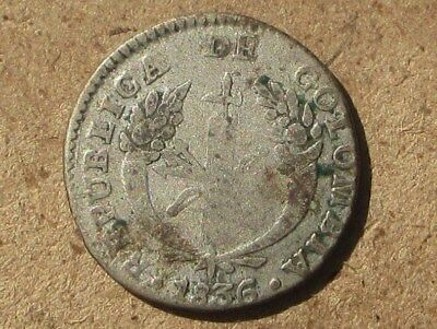 Colombia 1836-B Silver 1 Real Coin KM#87.1