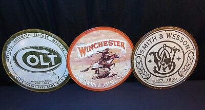 "Winchester - Colt - Smith & Wesson Tin Sign Set of 3 Signs 11.5"" NEW Mancave GUN"