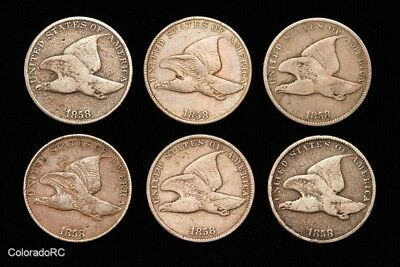 Lot of Six 1858 U.S. Mint 1C Flying Eagle Cents, Large & Small Letter Types