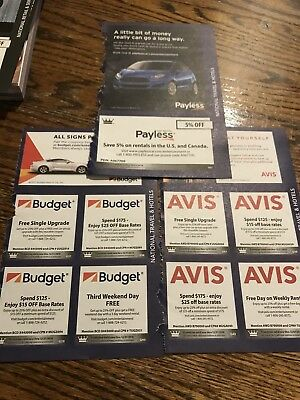 Budget, Avis, Payless Rental Car Coupons