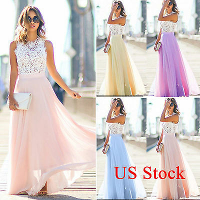 Womens Formal Maxi Dress Bridesmaid Evening Party Prom Ball Gown Tulle Sundress