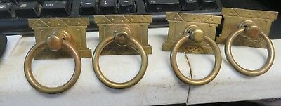 4 Antique Arts and Crafts Brass Plate Drawer Rectangular Ring Handle Pulls