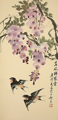 """CHINESE HANGING SCROLL """"Wisteria and Two Swallows""""  @u181"""