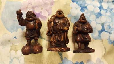 3Pc Set Carved Resin Japanese Men Figures Statue Buddha Asian Priest Figure