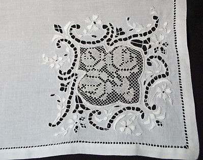 """Antique Dinner Napkins Set Of 12 Fancy Filet Inserts With Embroidery 22-1/2"""" Sq."""