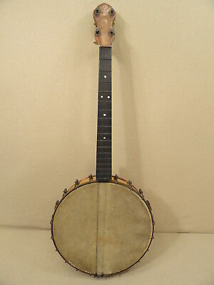 Antique Hf Banjo Ukulele Uke Mandolin 4 Sting Closed Back Guitar Instrument Vtg