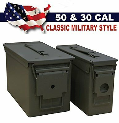 2 Ammo Military Cans 50 M2a1 + 30 M19a1 Cal Box Ammunition Storage Army Metal