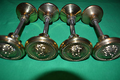 Lot Of Antique Vintage Solid Brass Door Knobs,  Rosettes, With Hidden Atchments