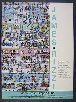1986 James Rizzi Meat Me at the Club lithograph offer Szoke vintage print Ad