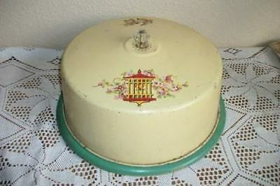 Metal Cake Cover Wood Plate Tole Bird Cage Roses Decal Art Deco Era Chic Shabby