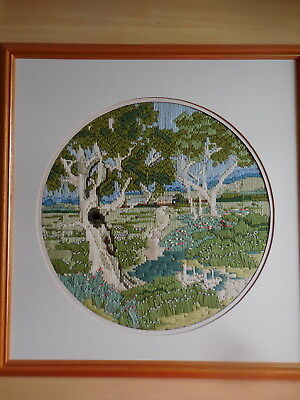 Long Stitch Completed & Framed Australian Country Scene