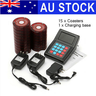 AU 15 Restaurant Coaster Pager Guest Wireless Paging Queuing Calling System