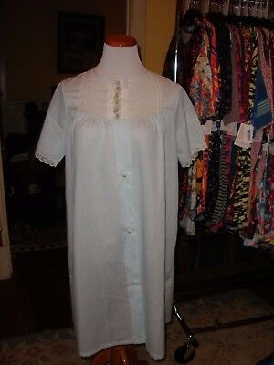 Vintage Blue  Batiste Duster Robe Housecoat  Never Worn M