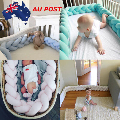 Baby Infant Plush Crib Bumper Bed Bedding Cot Braid Pillow Pad Protector 100cm