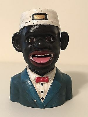 Antique Collectible Jolly Black Bell Boy Cast Iron Mechanical Bank By JE Stevens