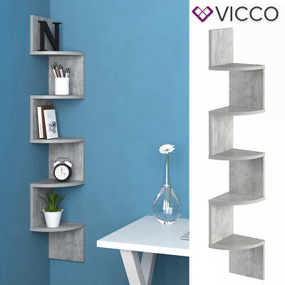 VICCO Eckregal SNAKE Beton Optik Hängeregal Wandregal Bücherregal Regal Design