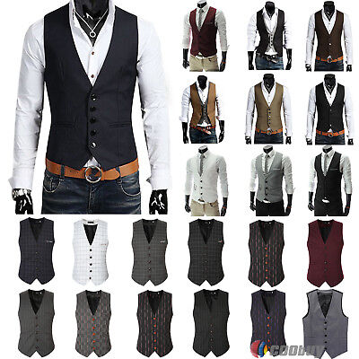 Men Formal Waistcoat Suit Vest Slim Fit Dress Tuxedo Wedding Casual Coat Jacket