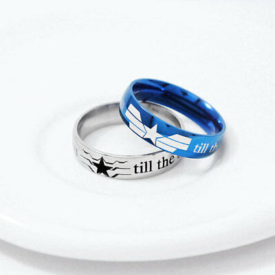 New The Avengers Captain America Staibless Steel Band Ring Cosplay Jewelry Gift