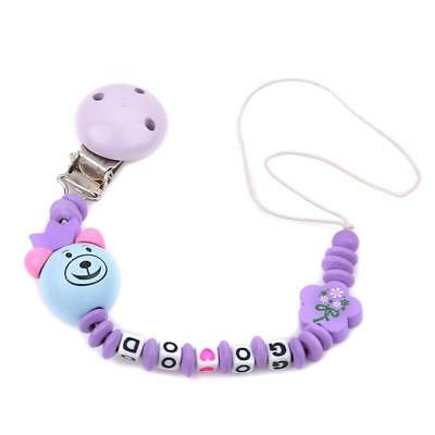 Baby Infants Wooden Dummy Clip Pacifier Chain Shower Gift for Girls&Boys LC