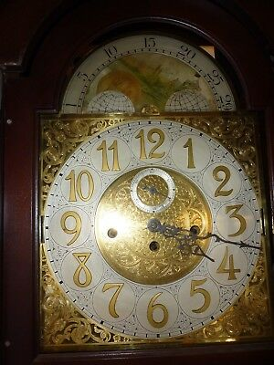 Vintage German Triple Weight 5 Chime Tube Moonphase Longcase Movement And Dial