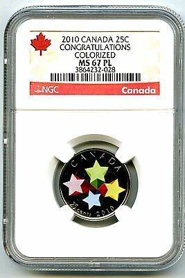 2010 Canada 25 Cent Ngc Ms67 Pl Congratulations Proof Like Quarter Rare !!
