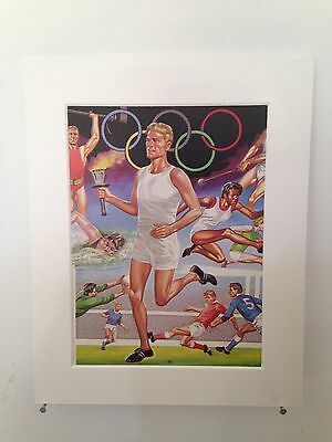 """Vintage book page mounted 10"""" by 8"""" ready to frame - Olympics Scene 1950s"""
