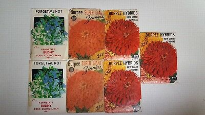 Lot of 7 Vintage Seed Packets Burpee Advertising Shabby Chic