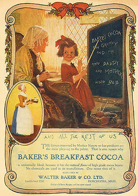 Little Girl Teaching Grandma  to Read - Norman Price - 1922 Baker's Cocoa Ad