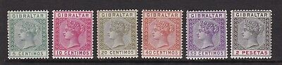 Gibraltar  1890 Qv Spanish Currency 6 Mint Stamps
