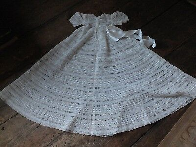 Baby's first Christmas? Antique vintage fine machine lace baby gown dress