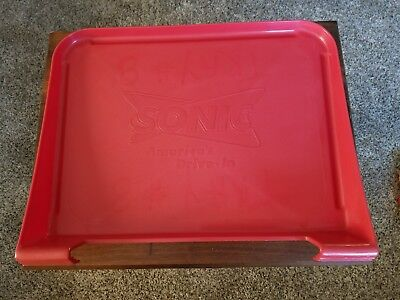 "Orig ""SONIC"" Drive-In Red Plastic Car Hop Window Food Tray, Made in U.S.A. ~ EUC"