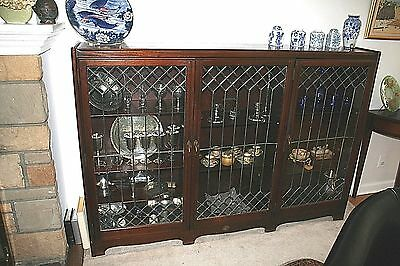 Antique Wood and Leaded Glass Bookcase and China Cabinet with Three Doors