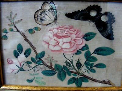 Pair Antique Chinese Qing Dynasty Paintings, Flowers