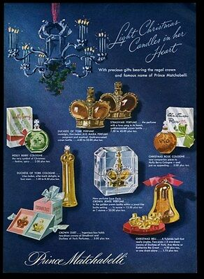 1946 Prince Matchabelli Christmas Crown Jewels Duet etc 7 perfume print ad