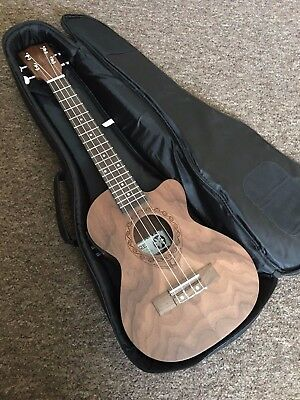 £199 Electro Acoustic Tenor Ukulele in pacific walnut w/ tuner preamp + Gig Bag
