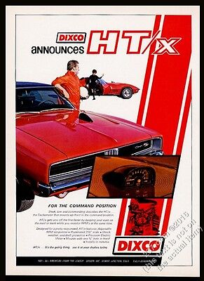 1969 Dodge Charger RT R/T red car photo Dixco HT/X tach vintage print ad
