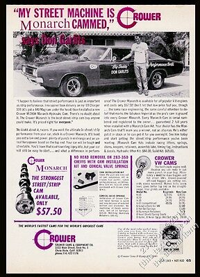 1969 Dodge Charger 500 and Don Garlits photo Crower Monarch cam vintage print ad