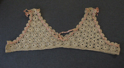 Antique rose silky insertion ribbon beige crocheted flowers blouse dress top