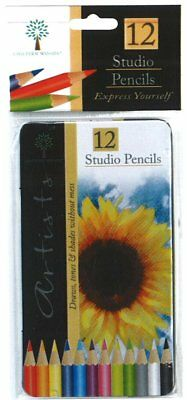 Brand New 12 Artists Studio Mixed Colouring Pencils - In a Metal Tin or Box