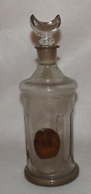 Antique Glass Barber Bottle with Rare Crescent Moon Stopper