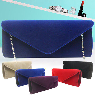 Elegant Clutch Bag Night Out Velvet Case Party Evening Prom Handbag Purse Womens