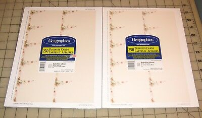 2 Geographics BUTTERFLIES & ROSES 250-Ct BUSINESS CARDS Packs - Unopened - NEW