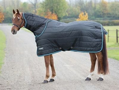 "Shires Tempest 200 Stable Rug & Neck - Black / Turquoise -  6'3"" - Rrp £68.99"