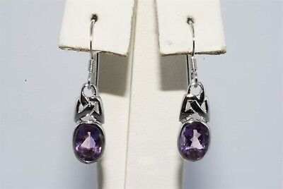 1.71Ct Natural Oval Cut Amethyst Solitaire Dangle Earrings .925 Silver Gorgeous
